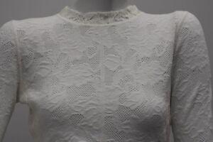7cd686bc4e855f NEW Oscar de la Renta Lace Over STRETCH KNIT Sweater Top White ...
