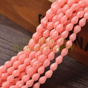 New-Arrival-30pcs-8X6mm-Teardrop-Faceted-Loose-Spacer-Glass-Beads-Peach-Pink