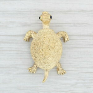 Tiffany-amp-Co-Turtle-Brooch-18k-Yellow-Gold-Blue-Sapphire-Eyes-Vintage-Pin