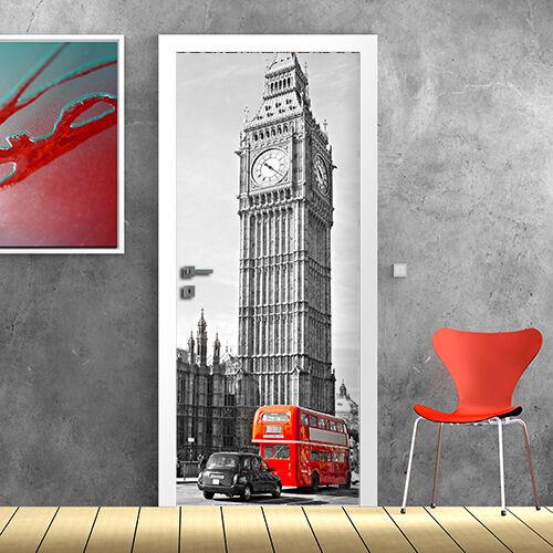 PT0151 Wall Stickers Adesivi Murali Porte decorate Porta Big Ben Tower 100x210cm
