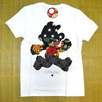 Men's Nintendo Super Mario Game T-shirt White Sz Small Floral Console