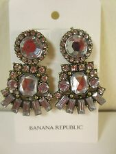 Banana Republic Antique Silver Crystal Cluster Fan Drop Earrings NWT $49.50
