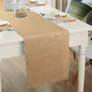 Image Is Loading Vintage Burlap Table Runner Natural Jute Hessian Tablecloth