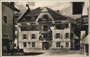 ~1930/40 MITTENWALD Bayern Straßen Partie am Goethe-Haus alte Ansichtskarte AK