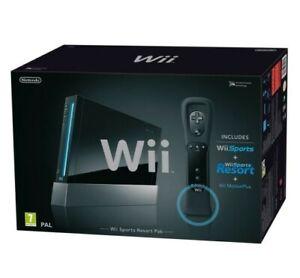 Wii Konsole schwarz Sports Resort Pak + Spiele + orig mote + Motion Plus + Zub m