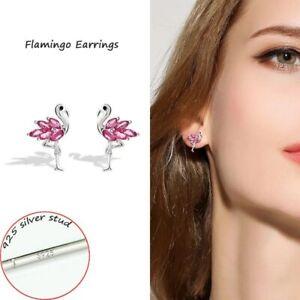 Kristall-Flamingo-Vogel-Ohrstecker-925-Echt-Silber-Ohrringe-Kinder-Maedchen
