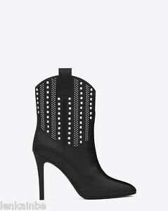 a363cf6d4d6 Image is loading Yves-Saint-Laurent-Debbie-100-Studded-Western-Black-
