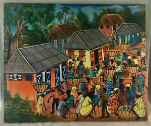 At Wednesday Farmers Market I Signed >> Haitian Oil Canvas Painting Haiti Farmers Market Farm Village Signed