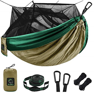 Single & Double Camping Hammock with Mosquito/Bug Net, Portable Parachute Nylon