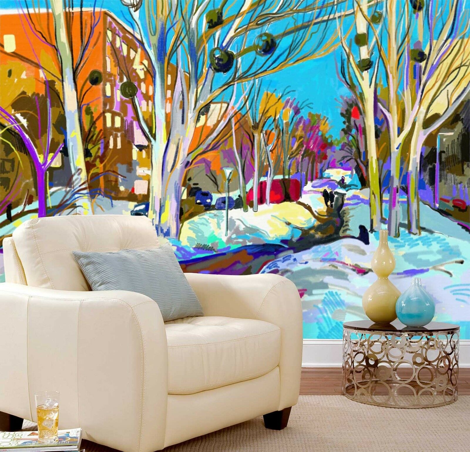 3D Painted Snow Branche Wall Paper Print Decal Wall Deco Indoor wall Mural