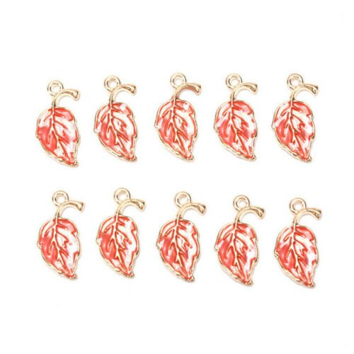 10Pcs Enamel Alloy Leaf Leaves Charms Metal Pendant DIY Craft Jewelry Findings ~
