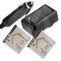 2 Battery + Home Wall Car Travel Ac/dc Charger For Sony Bc-csn Bc-csnb Npbn1
