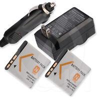 2 Battery + Charger For Sony Cyber-shot Dsc-tx10/b Dsc-tx10/g Dsc-tx10/p Digital