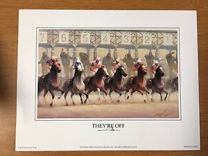 THEY'RE OFF Horse Print Art by James L  Crow 9