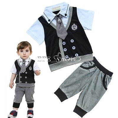 2pcs Newborn Toddler Baby Boy Clothes Formal T-shirt Tops+Pants Outfits Set New