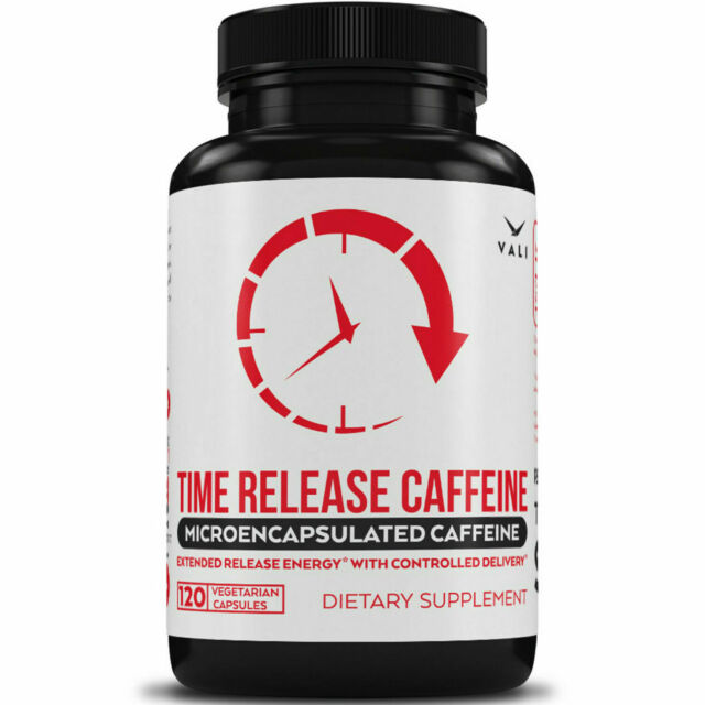 Time Release 100mg Caffeine Pills 120 Veggie Capsules Microencapsulated for  No