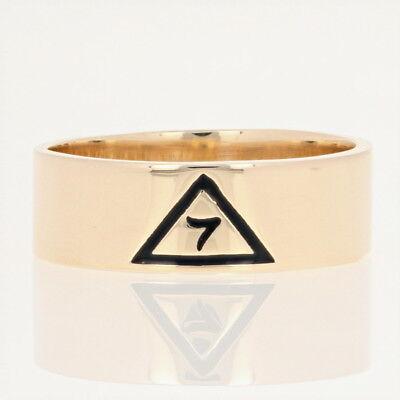 14ter Grad Scottish Rite Yod Ring - Karat Gelbgold Schwarz Emaille Freimaurer