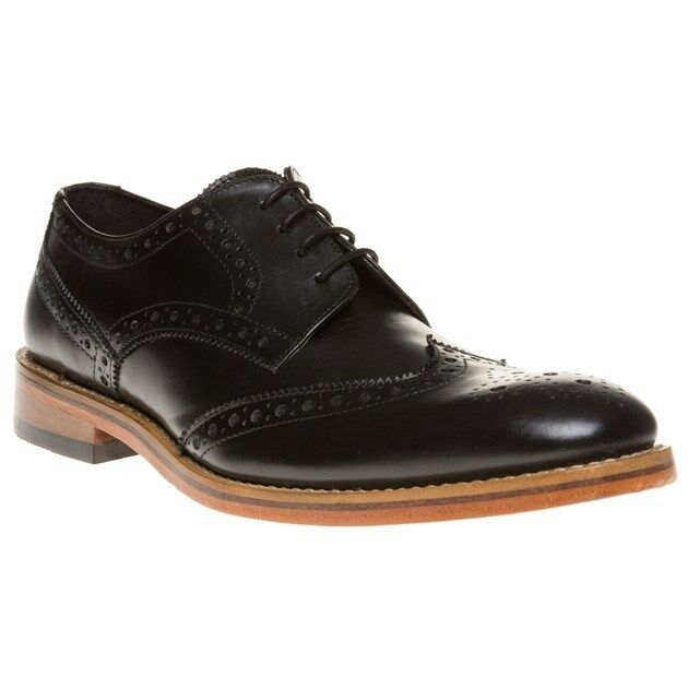 New Mens SOLE Black Surrey Leather Shoes Brogue Lace Up