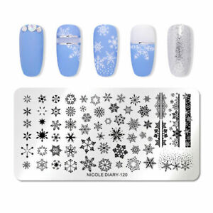 Nail-Art-Stamping-Plate-Image-Decoration-Christmas-Ice-Snow-Snowflakes-ND120x