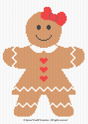 GINGERBREAD BOY Graph//Chart Afghan PATTERN Crochet Patterns