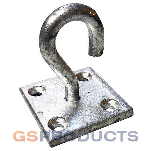 Galvanised Steel Hook on Plate Tie Down Staple Horse Wall Hook FREE P+P