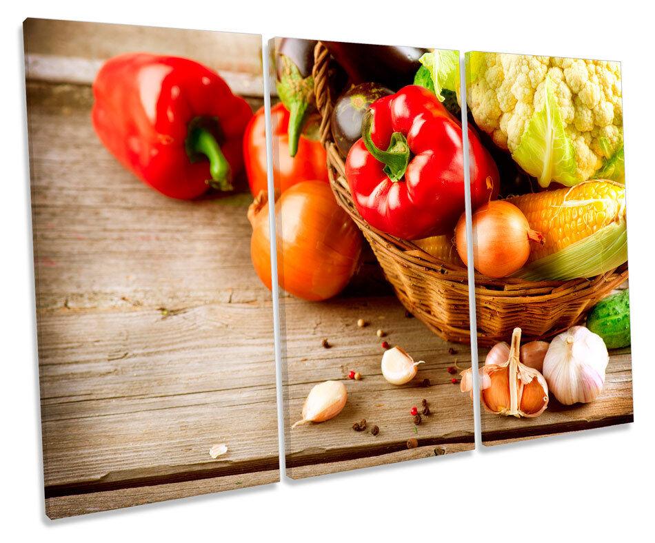 Kitchen Fresh Vegetables Cafe TREBLE CANVAS Wand Kunst Box Framed Drucken