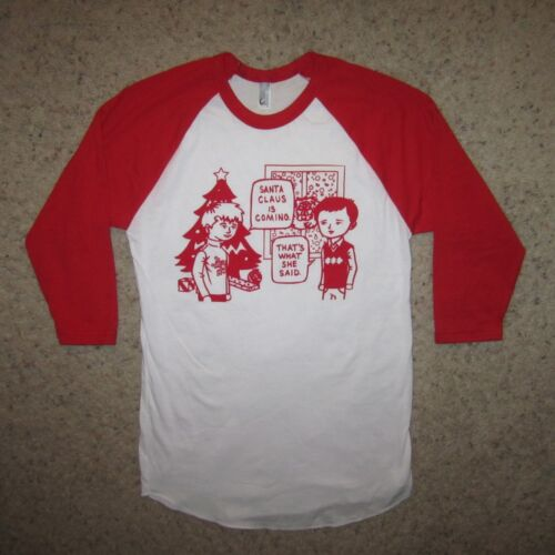 3//4 sleeve ugly sweater christmas santa claus coming thats what she said t shirt