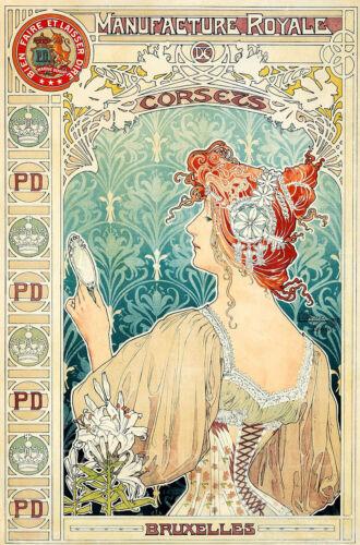 Details about  /Royale Corsets Bruxelles Belgium Vintage Poster Giclee Canvas Print 20x30