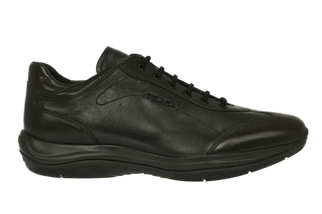 NEW PRADA LUXURY noir LEATHER LOGO PLATFORM baskets chaussures 40 US 10
