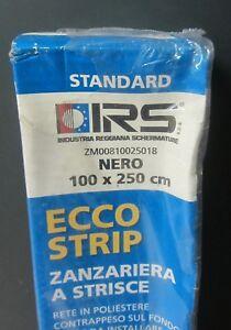 Distingué Irs Zanzariera A Strisce Rete In Poliestere Colore Nero 100 X 250 Cm X Porta New