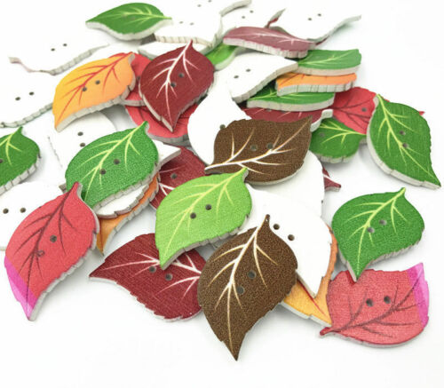 Wooden Buttons mixed color Leaf shape decoration sewing craft scrapbooking 34mm