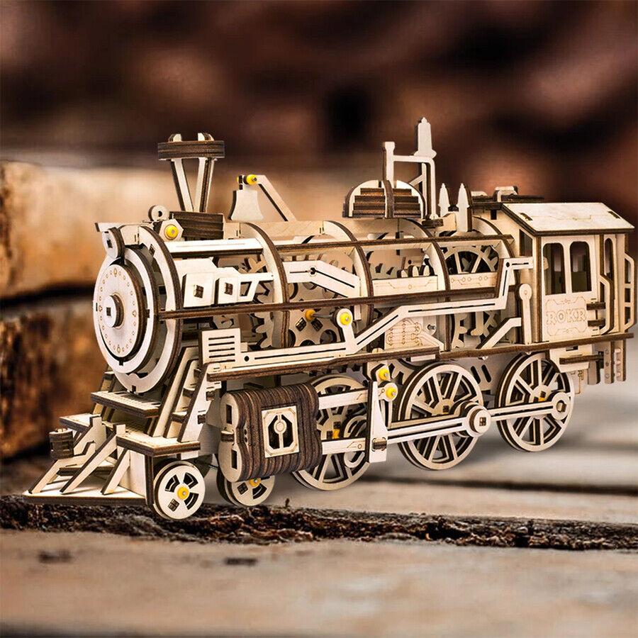 Wooden Construction Robotime Mechanical Gears Locomotive Train 3D Model Puzzle