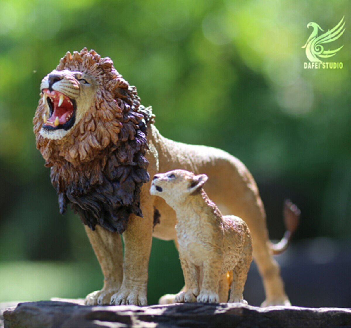 DF 1 12 African Lion King and Son Model Panthera leo massaicus Animal Toy Gift
