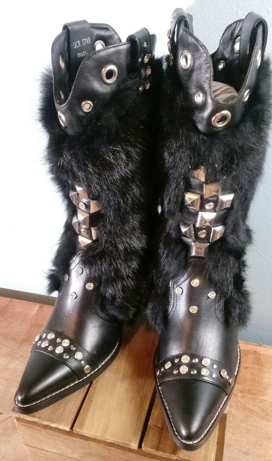 Capelta Couture Negro de Estrella De Rock cuero y botas de Negro piel de conejo talla 8 M 280302