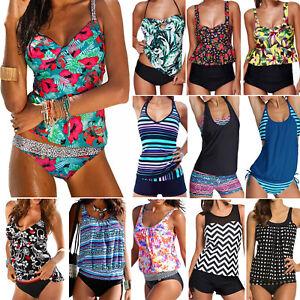 Women-Blouson-Sporty-Tankini-Set-Swimwear-Two-Piece-Swimsuit-Bikini-Plus-Size