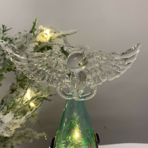 Glass LED Light Up Angel Hanging Christmas Decoration Peacock Feather Fairy