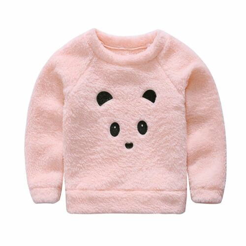 Girls Winter Pink Furry Little Bear Tops For Baby Girl Kids Sweater Coats Childr