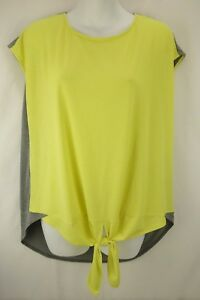 INVESTMENTS-Neon-Yellow-Gray-Short-Sleeve-Tie-Front-Stretchy-Blouse-Women-SZ-L