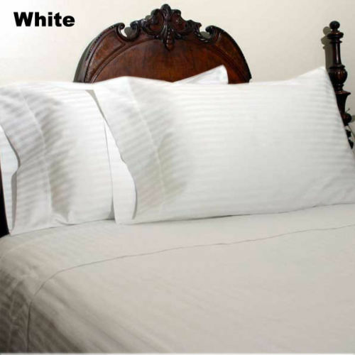 Deep Pocket Bedding Items All US Sizes White Solid//Stripe Egyptian Cotton
