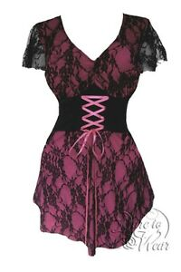 fdec723fb6a Plus Size Gothic Pink and Black Lace Sweetheart Corset Top 1X 2X 3X ...