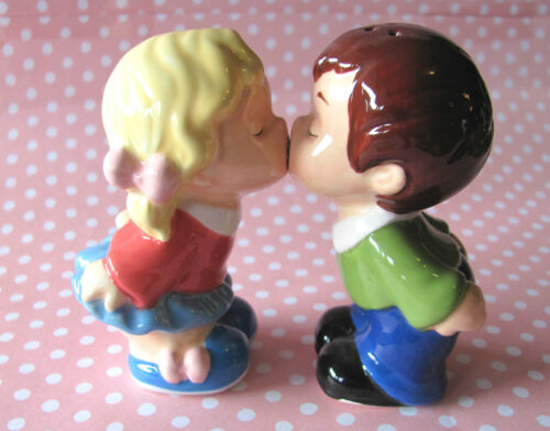 Mwah FIRST KISS Ceramic Salt & Pepper Shakers Home Decor Engagement Gift