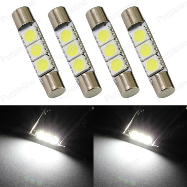 4 x Xenon White 3-SMD 6641 LED Bulbs For Car Sun Visor Vanity Mirror Fuse Lights