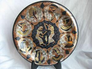Egyptian-Brass-Wall-Decor-Plate-Pharaoh-Dancers-Design-10-034
