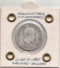 1 LIRA VITTORIO EMANUELE II ARGENTO SILVER 1863 VALORE  MILANO BUONA + +  RARA