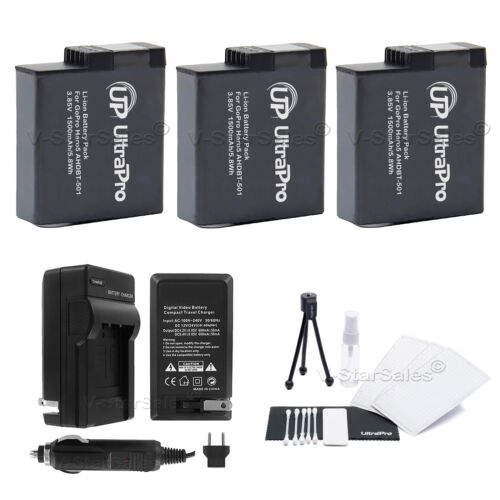 3X AHDBT501 1500mAh Replacement Battery and ACDC Charger for GoPro Hero 5, 6, 7