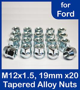 20 Alloy Dadi Delle Ruote Per Auto Ford con gran de centro CAPS 12 x 1,5 aperta 19 esagonale.