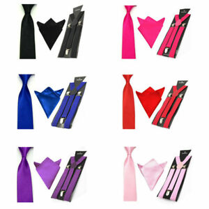 Mens-Solid-Color-Elastic-Suspenders-Braces-Tie-Necktie-Handkerchief-Hanky-Set