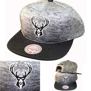 promo code 2047a 0ee9c Image is loading Mitchell-amp-Ness-NBA-Milwaukee-Bucks-Grey-Snapback-