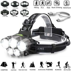 350000LM-T6-LED-Headlamp-Headlight-Torch-Rechargeable-Flashlight-18650-Camping