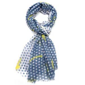 8411473cf White Scarf Denim Blue Yellow Neon Dot Dots Spot Spots Wrap Shawl ...